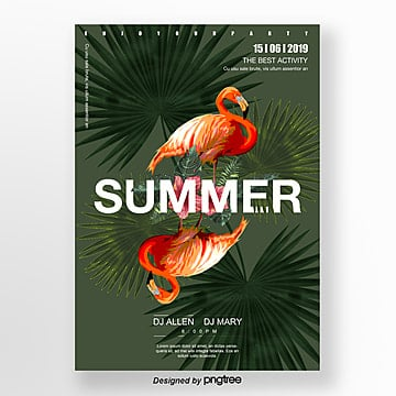 black green flamingo symmetrical style poster Template