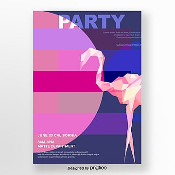 blue and pink geometric flamingo queue poster Template
