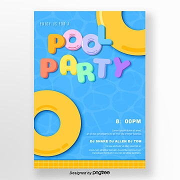 blue summer pool party poster Template
