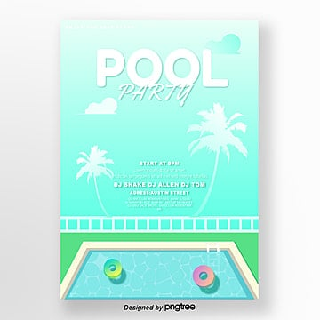 blue summer pool tropical poster Template