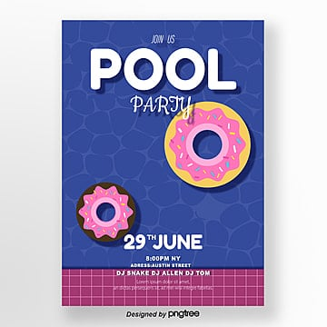 dark blue summer doughnut pool party poster Template