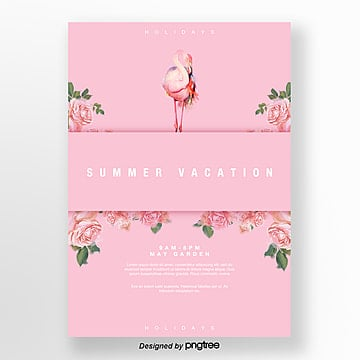 pink flower flamingo symmetrical romantic poster Template