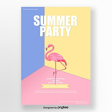 Simple posters with light indoor Flamingo illustrations Template