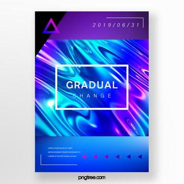 square border fluid gradient creative poster Template