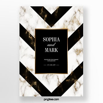 black gold marble geometric wedding invitation creative poster Template