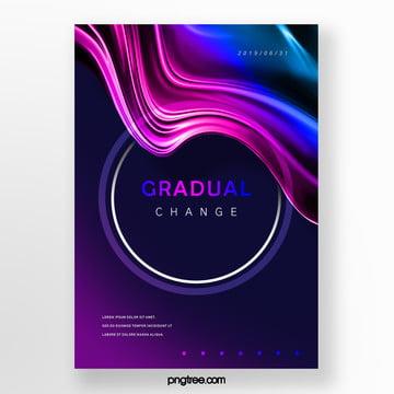 circular fluid blue and pink gradual creative poster Template