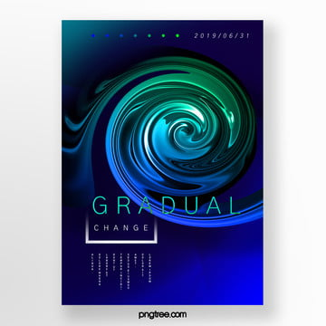 creative posters with blue green gradient of whirlpool fluid Template