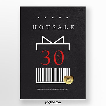high end black barcode element promotion poster Template
