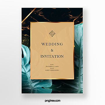 luxury black gold marble invitation letter template for tropical plants Template