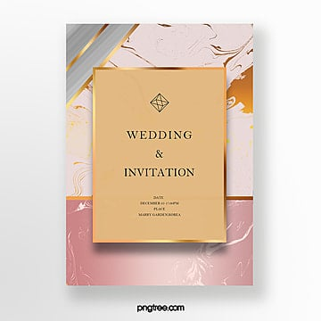 luxury rosegold marble geometric invitation letter template Template