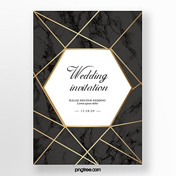 luxury wedding european poster with black marble and golden geometric lines Template