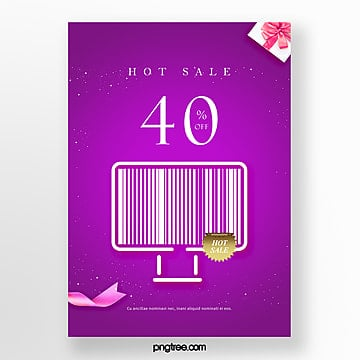 purple creative bar code elements hot selling promotional posters Template