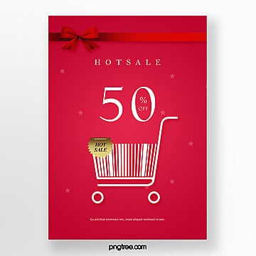 red shopping cart bar code elements hot selling promotion posters Template