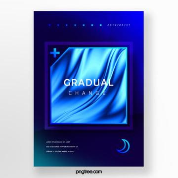 square blue fluid gradient creative poster Template