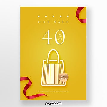 yellow shopping bag bar code element hot selling promotion poster Template