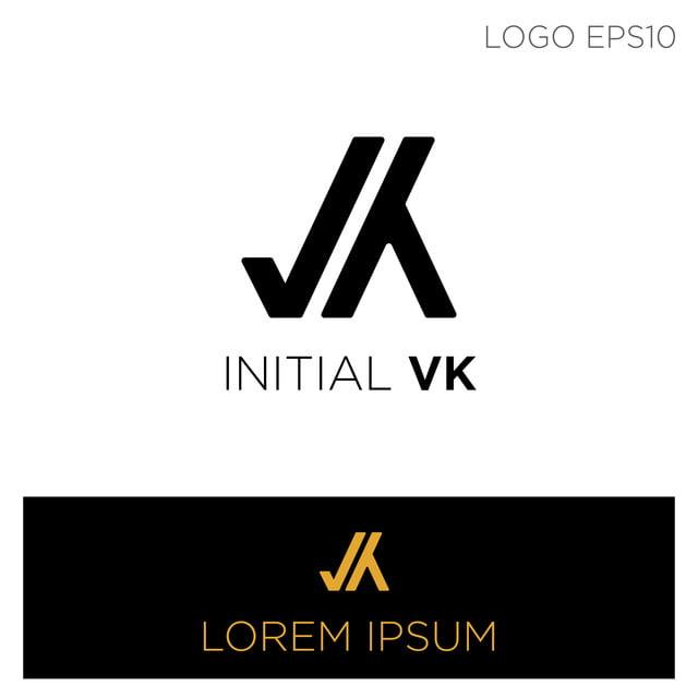 K Logótipo Modelo De Ilustração Vector De Cor Negra Vk