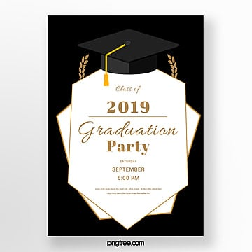simple vector graduation hat poster Template