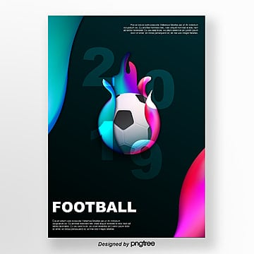 blue football creative fluid gradient poster Template