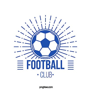 blue simple line football club logo Template
