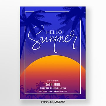 blue sunset silhouette summer activity poster Template
