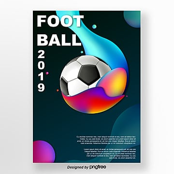 creative football posters with color fluids Template