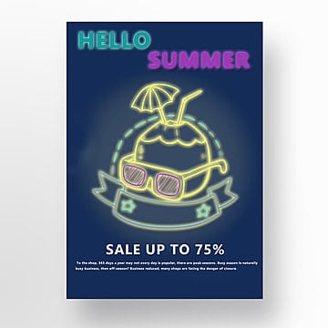 Dark brick wall background neon promotional poster for summer Template