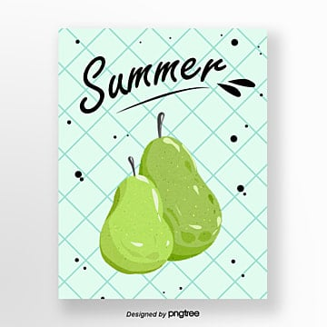 Hand painted Pear Watercolor Summer Fruit Card Template