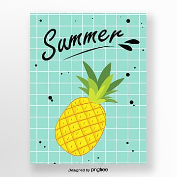 Hand painted pineapple watercolor summer fruit card Template
