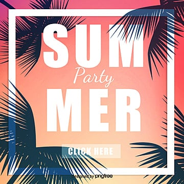 Pink Gradient Coconut Tree Summer Party Sns pop up Template
