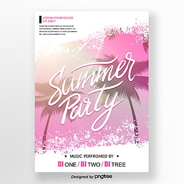 pink summer magazine style party poster Template