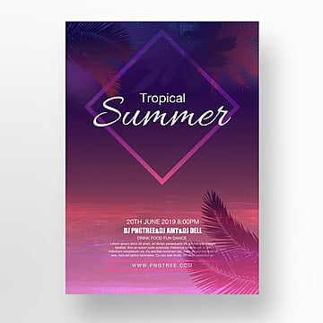 purple gradual tropical evening poster Template