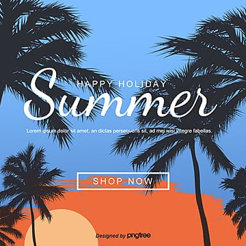 SNS template for orange sunset tropical summer coconut trees Template