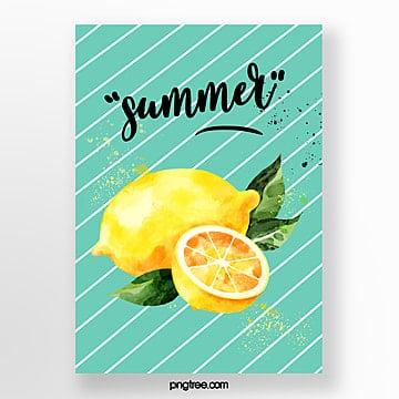 Summer color watercolor fruit cards Template