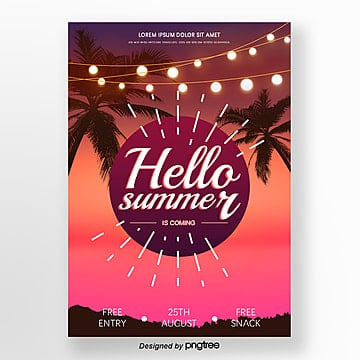 summer gradual background party posters Template