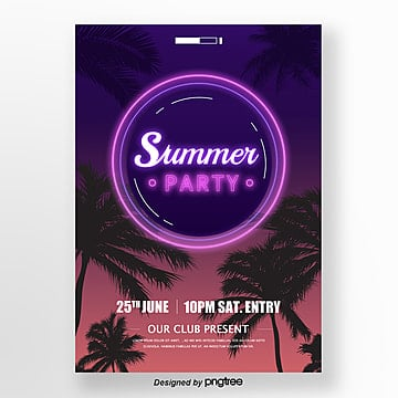 summer neon style party poster Template
