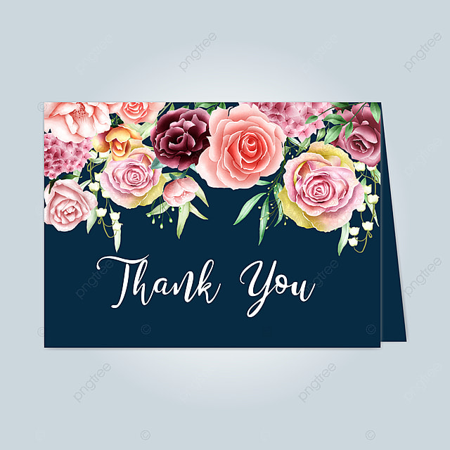 beautiful floral card with thank you message template for