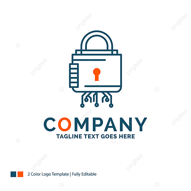 Security Cyber Lock Protection Secure Logo Design Blue And