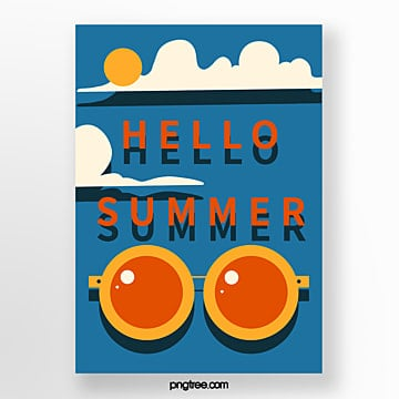 Simple blue retro summer posters Template