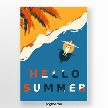 Retro Style Blue Summer Girl Poster Template