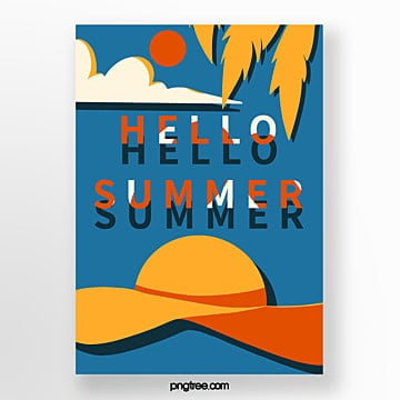retro style blue summer sunshade poster Template