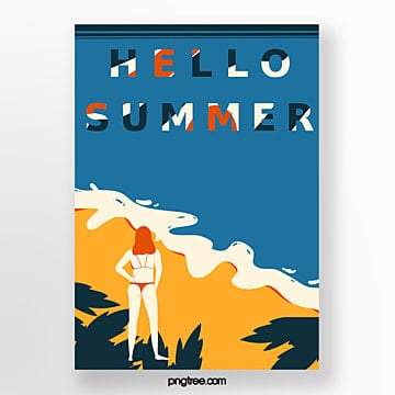 retro style summer beach girl posters Template