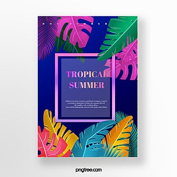 summer gradient palm leaf poster template Template