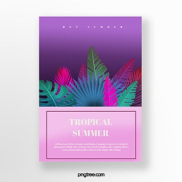 summer gradient plants poster template Template