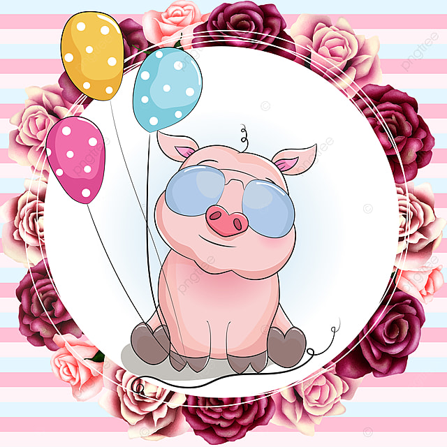 Cute Piggy With Beautiful Watercolor Floral Birthday