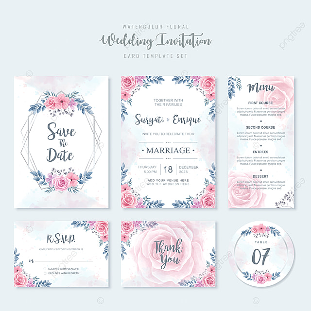 Watercolor Flowers Wedding Invitation Card Template Wedding