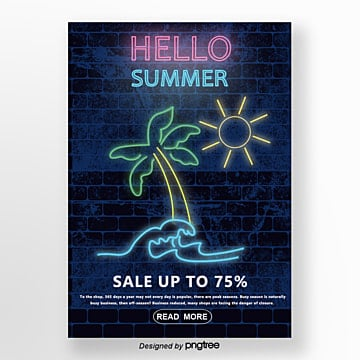 Dark brick wall background neon promotional posters for summer Template
