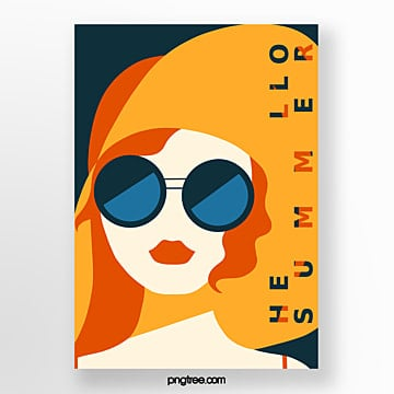 retro style orange summer posters Template