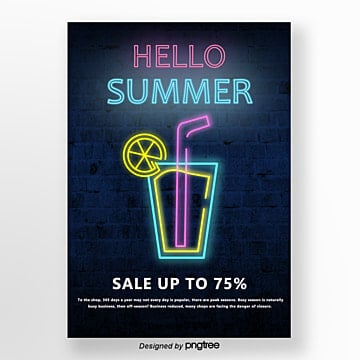 Neon Light Effect in Dark Brick Wall Background Summer Promotion Poster Template