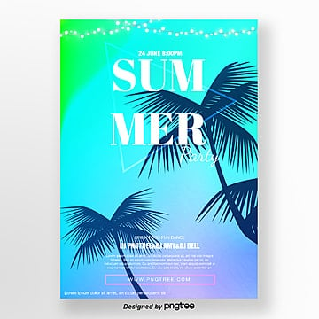 blue gradient summer tropical coconut tree activity poster Template