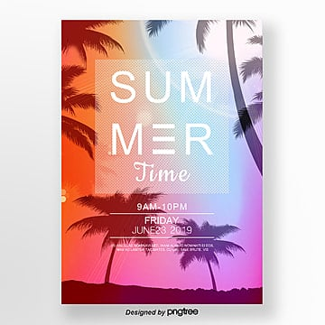 Gradient posters for summer sunset parties Template